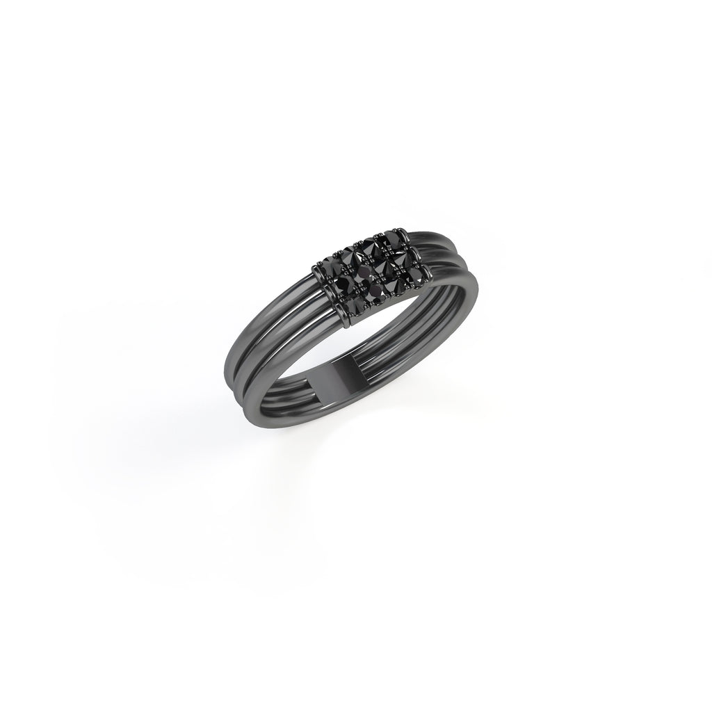 Feel The Love Black Diamond Braille Heavy Signet Ring