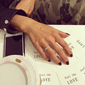 Feel The Love Diamond Braille Ring 6 Characters