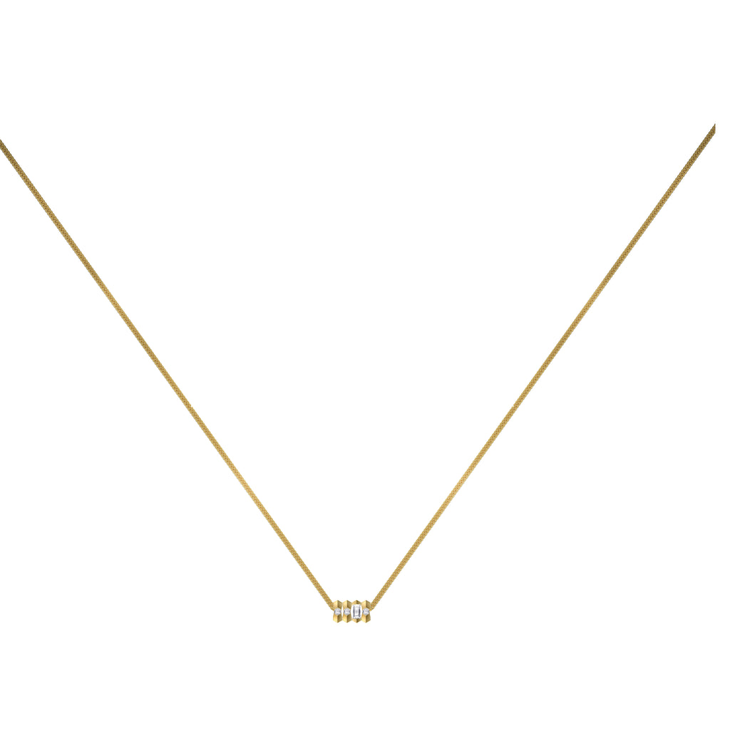 Dot Dash Diamond Morse Code Necklace - Letter F
