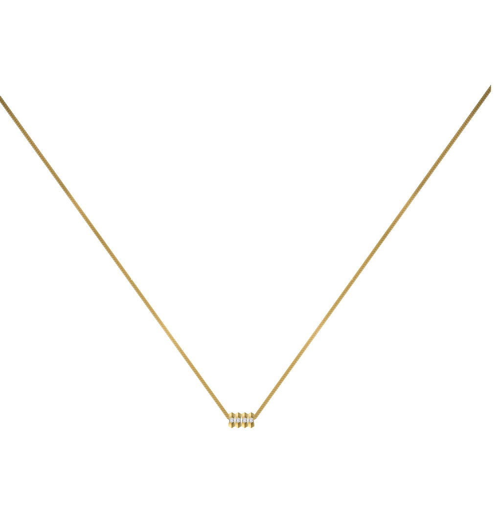 Dot Dash Diamond Morse Code Necklace - Letter H