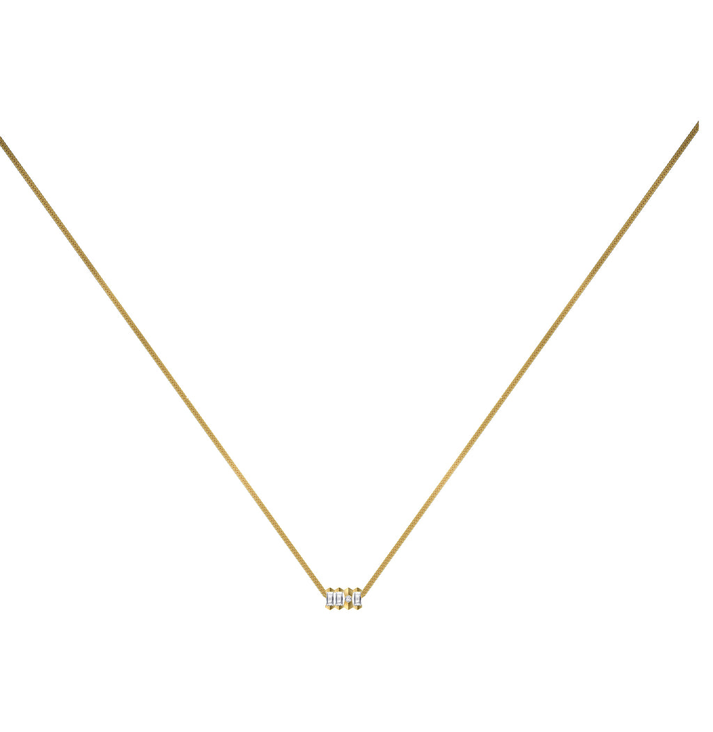 Dot Dash Diamond Morse Code Necklace - Letter Q