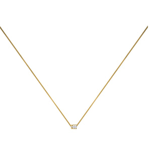 Dot Dash Diamond Morse Code Necklace - Letter W
