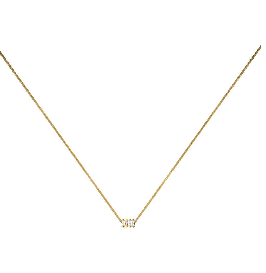 Dot Dash Diamond Morse Code Necklace - Letter Y