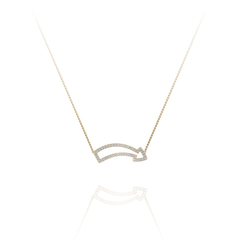 'Fun This Way' Diamond Pavé Arrow Edge Necklace