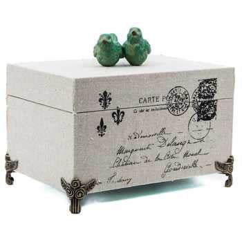Decorative Canvas Box with Green Birds on Top