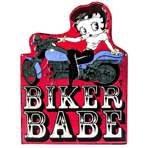 Betty Boop Biker Babe Embossed Die-Cut Tin Sign