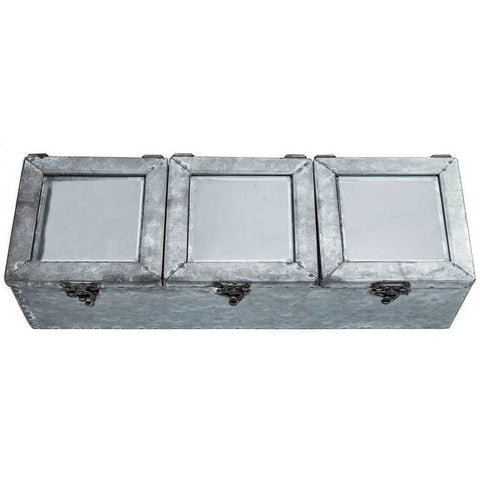 Antique Gray Zinc Box with 3-Compartments