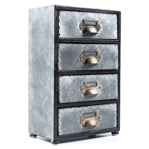 Antique Gray 4-Drawer Zinc Cabinet