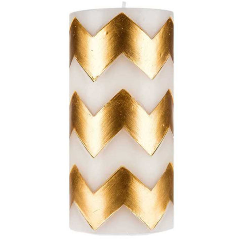 "White & Gold 3"" x 6"" Chevron Pillar Candle"