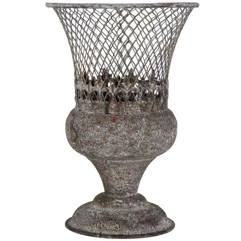 Small Rustic Urn with Mesh Top