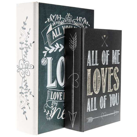 Black & Cream Love Quotes Lined Book Box Set