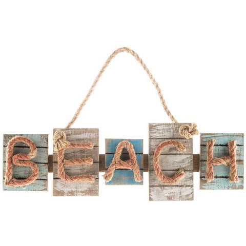 Beach Wood Plaque with Rope Letters