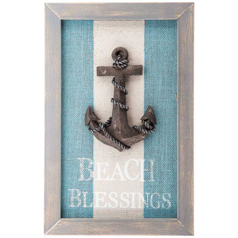 Beach Blessings Striped Anchor Plaque