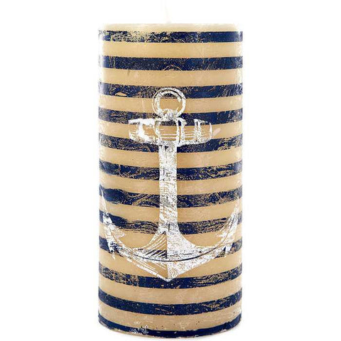"2 3/4"" x 6"" Striped Anchor Pillar Candle"