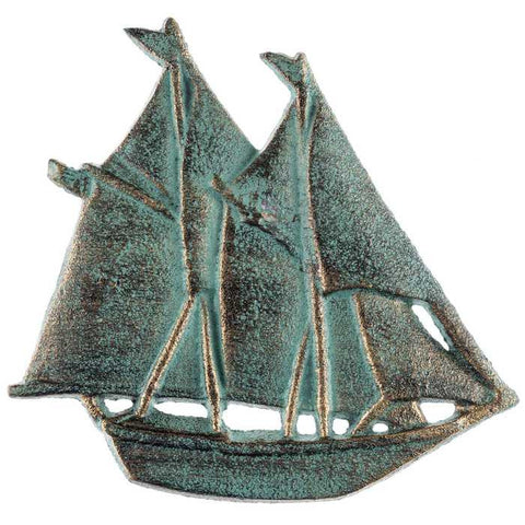 Antique Bronze Patina Cast Iron Sailboat