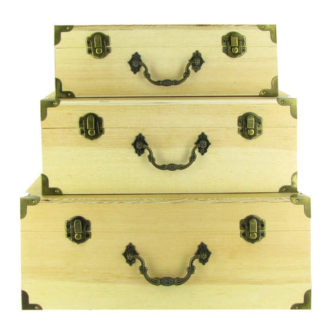 Wood Box Set with Antique Bronze Hardware