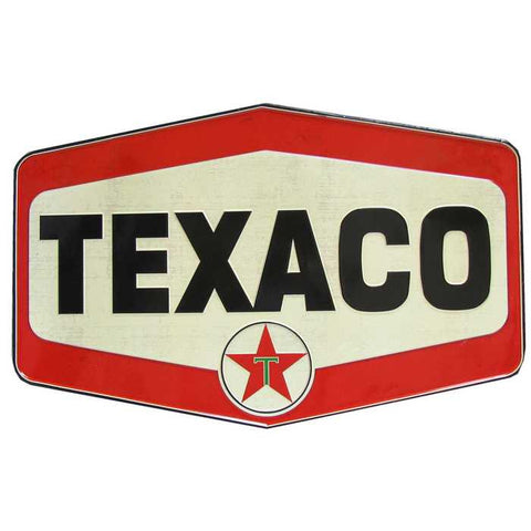 Texaco Vintage Die Cut Embossed Tin Sign