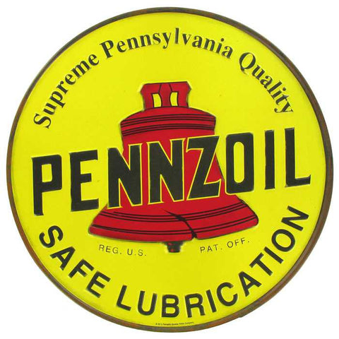 "12"" Round Embossed Yellow Pennzoil Tin Sign"