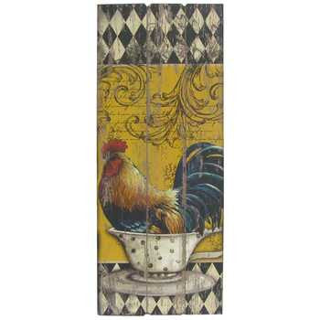 Rooster in Teacup Wall Decor with Harlequin Design