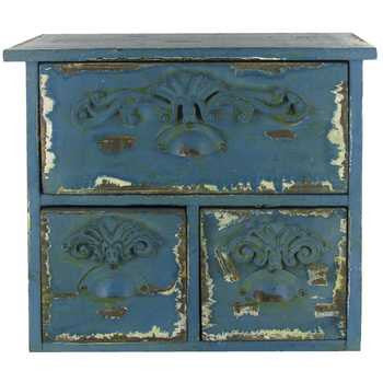 Antique Blue Antique 3-Drawer MDF Organizer
