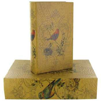 Bird Fabric Lined Book Box Set