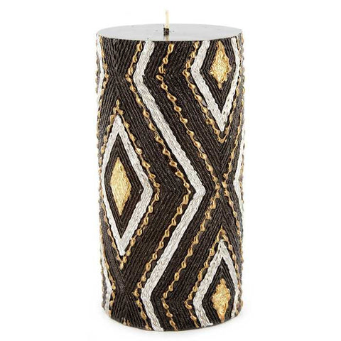 "3"" x 6"" Black & Gold Embossed Pillar Candle"