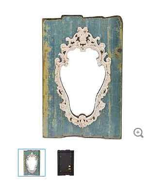Antique Blue Ornate Shield Wall Mirror