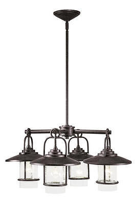 Rustic Country Industrial Miner Bronze 4-Light Chandelier Steampunk Pendant