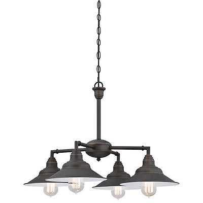Rubbed Bronze 4-Light Chandelier Industrial steampunk Rustic Country