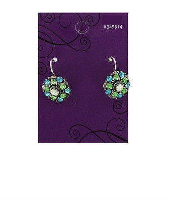 Aqua & Peridot Rhinestone Earrings