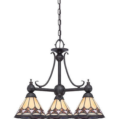 3-Light 20''  Dinette Chandelier With Tiffany Stained Glass