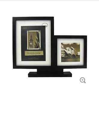 Black 2-Opening Picture Frame with Stand