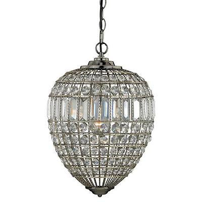 "11.75"" Antique Brass Pendant Light Fixture Modern Crystal Beads Chic couture"