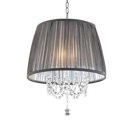 3-Light 17'' Polished Chrome Chandelier Black Sheer Fabric Shade Modern Chic