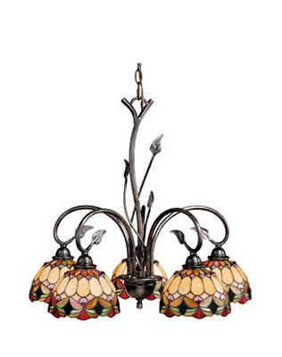 "Belle 5-Light 24.375"" Oil Shale Chandelier Tiffany style Stained Glass"