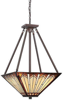 "16"" Russet 3-Light Pendant Mission Tiffany style stained glass Craftsman"