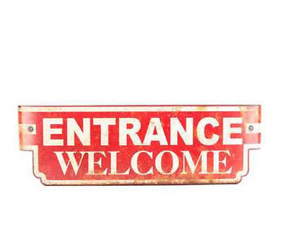 Red Curved Vintage Entrance Welcome Tin Sign