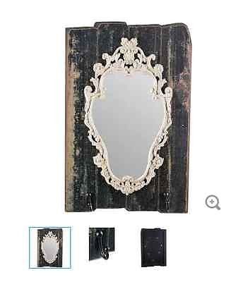 Black Ornate Shield Wall Mirror with Hooks