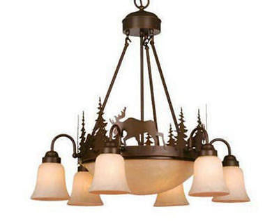 "6-Light 28.5"" Bronze Chandelier Rustic Country Log Cabin Northwood Lodge Light"