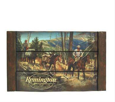 Remington Scenic Rustic Wood Plaque
