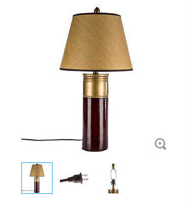 Red & Brass Shotgun Shell Table Lamp  Hunting