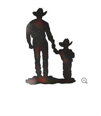 Cowboy with Son Silhouette Metal Wall Decoration