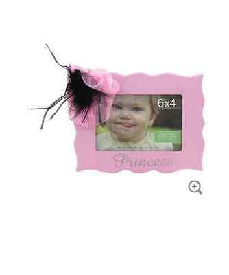 "6"" x 4"" Pink Princess Frame with Bow & Feather"