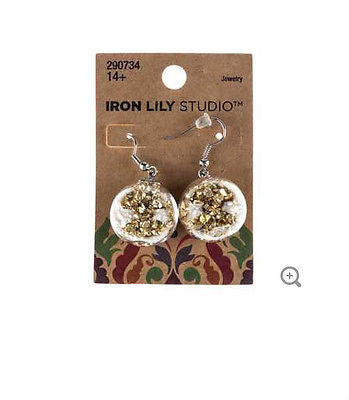 Clear Balls with Gold Dust Earrings