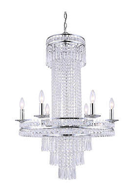 "25 1/2"" Crystal 6 Light Chandelier Modern Contemporary Crystal Classic"