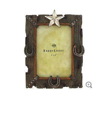 "4"" x 6"" Polyresin Star & Horseshoe Frame"
