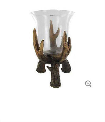 "8"" Antler Candle Holder with Glass Cup"