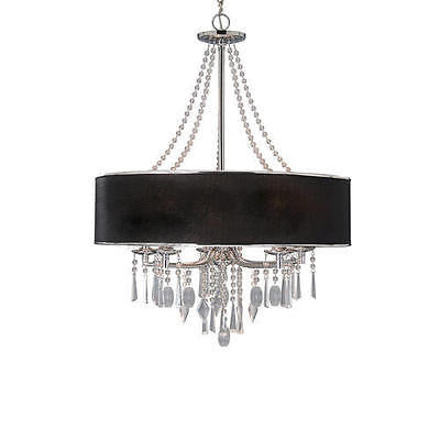 "27.5"" Chic 5-Light Chandelier Black Shade Modern Contemporary Fixture pendant"