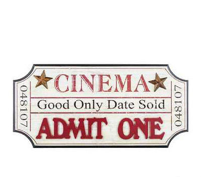 Cream & Red Cinema Ticket-Shaped Wall Decor