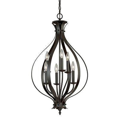 "18"" Burnished Bronze Caged Pendant Fixture Modern Contemporary"
